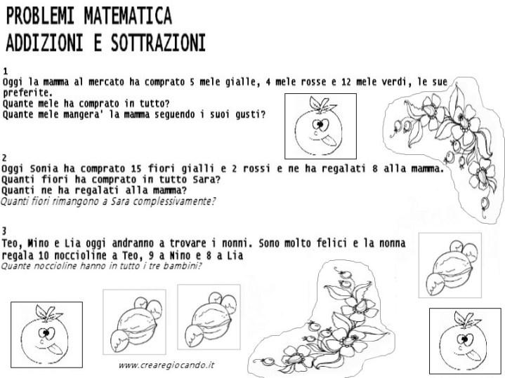 PROBLEMI SEMPLICI MATEMATICA CON ILLUSTRAZIONI ...