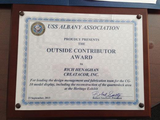Creatacor Receives Honor From USS Albany Association