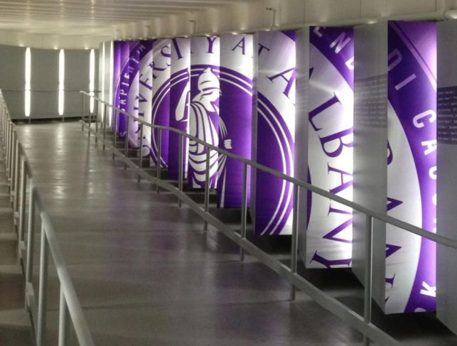 Permanent custom walkway display at the University at Albany, designed and installed by New York-based Creatacor.