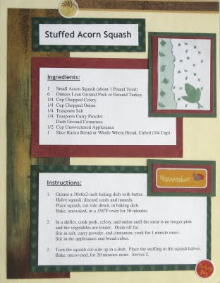 Stuffed Acorn Squash - Scrapbook Recipe Layout at Create With Joy