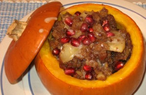 Stuffed Pumpkin With Apple & Cinnamon Raisin Bread Pudding