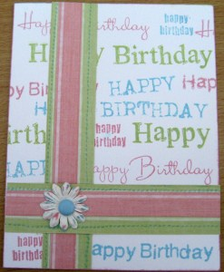 Spring Birthday Card with Handstamped Background