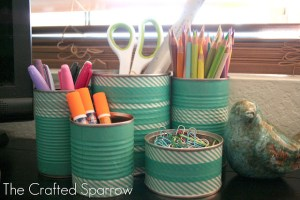 Washi Tape Tin Cans at The Crafted Sparrow