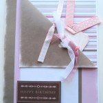 Happy Birthday Card - Shabby Pink & Brown