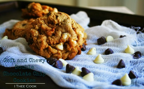 Soft & Chewy Double Chocolate Chip Cookies