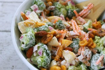 Broccoli And Apple Salad with Seasoned Nuts