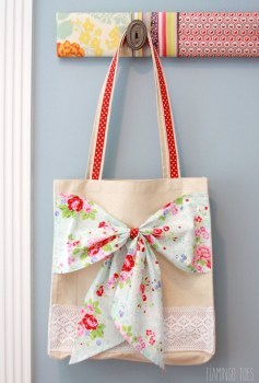Fabric And Lace Bow Totes