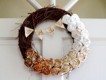 Fall Ombre Rose Wreath