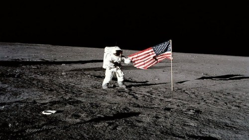 Neil Armstrong Flag On Moon
