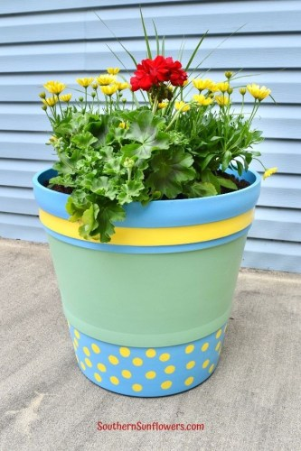 Painted Plastic Flower Pot
