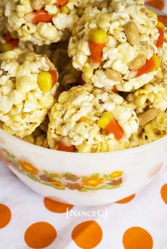 Candy Corn Peanut Popcorn Balls