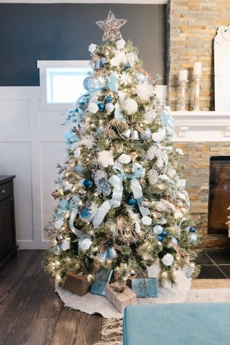 Favorite-Things-Christmas-tree-in-blue-silver-and-rose-gold