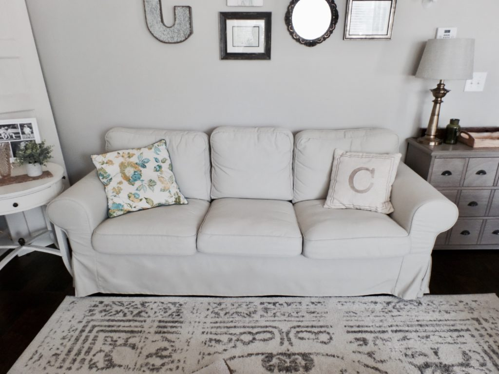 pottery barn goose down sofa american leather sleeper assembly couch comparison vs ikea
