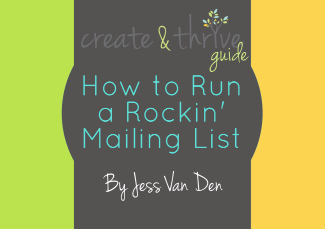 Create & Thrive Ebook Cover How to Run a Rockin Mailing List