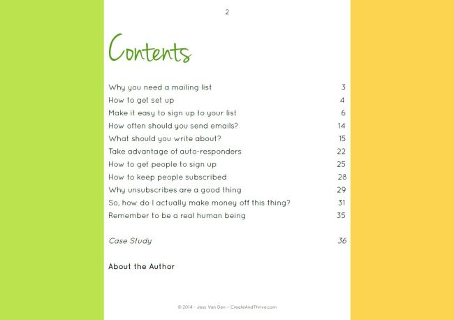Create & Thrive Guide - How to Run a Rockin' Mailing List Contents