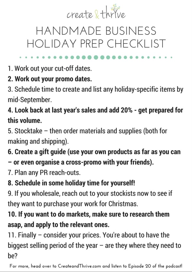 Handmade Business Holiday Prep Checklist - Create & Thrive (1)