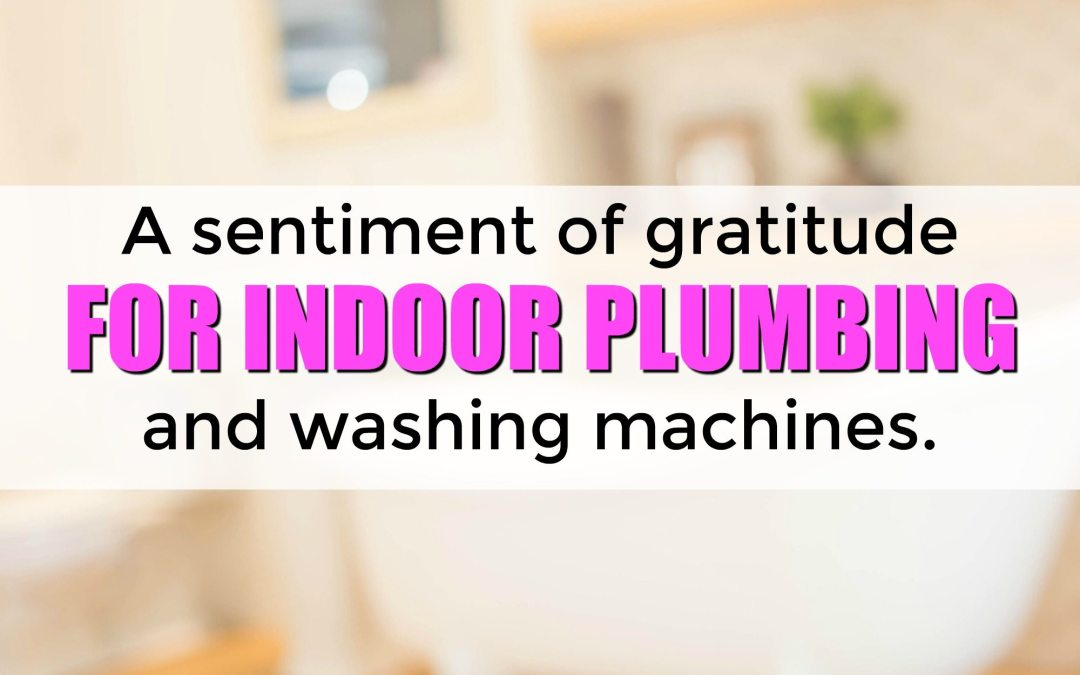 A sentiment of gratitude for indoor plumbing and washing machines.