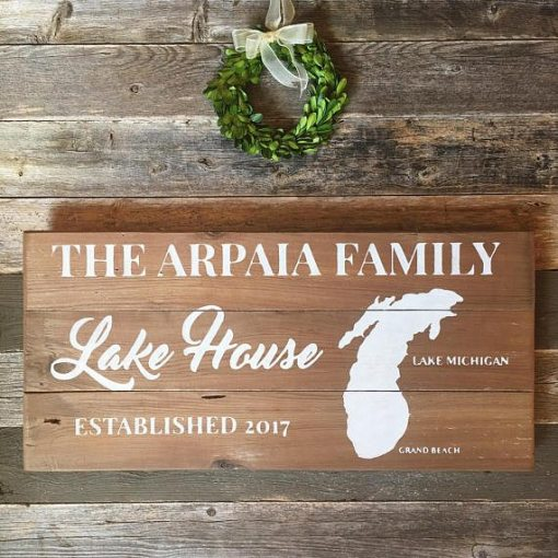 Raw Wood Lake House Sign | Reclaimed Wood Sign