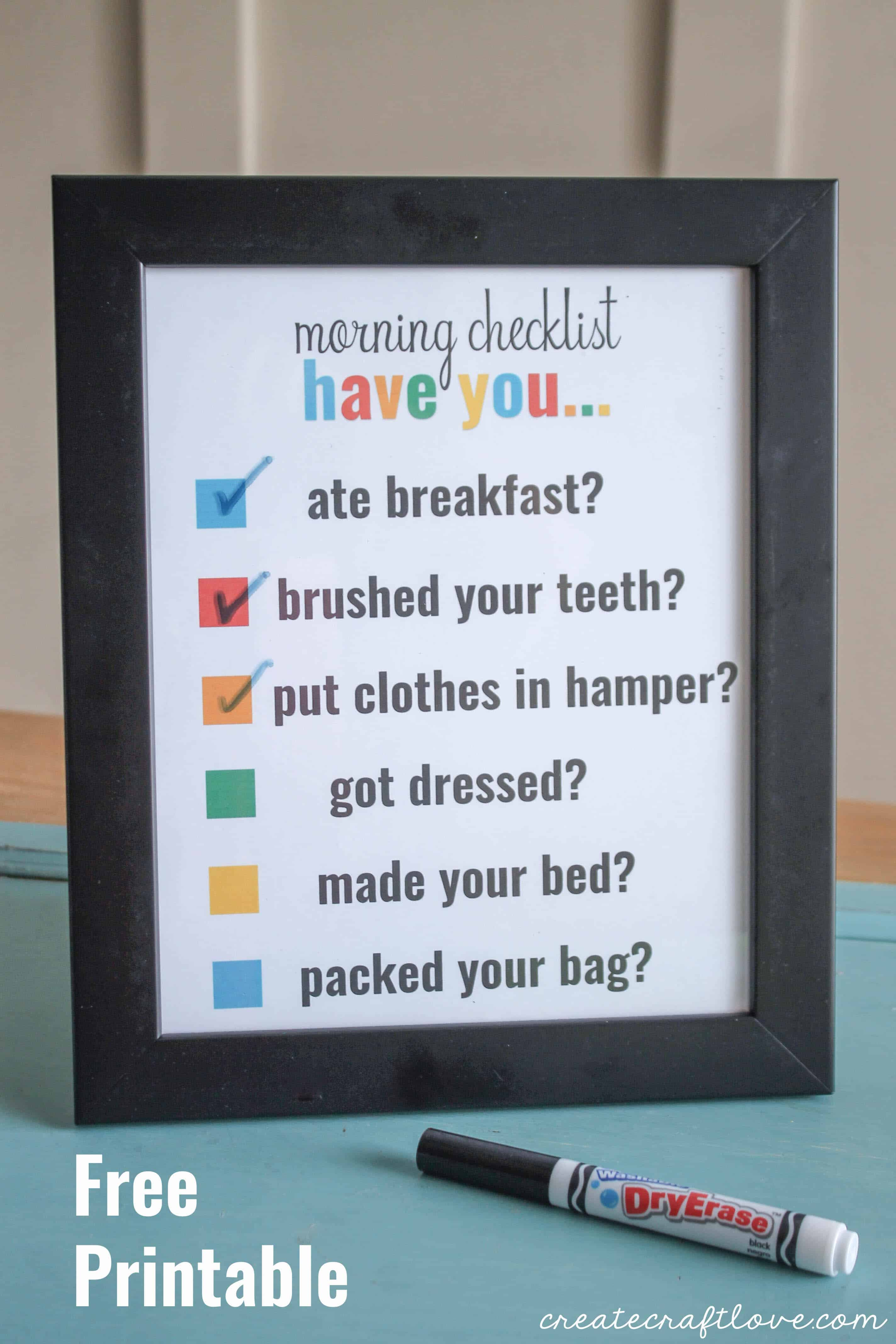 Morning Checklist Printable