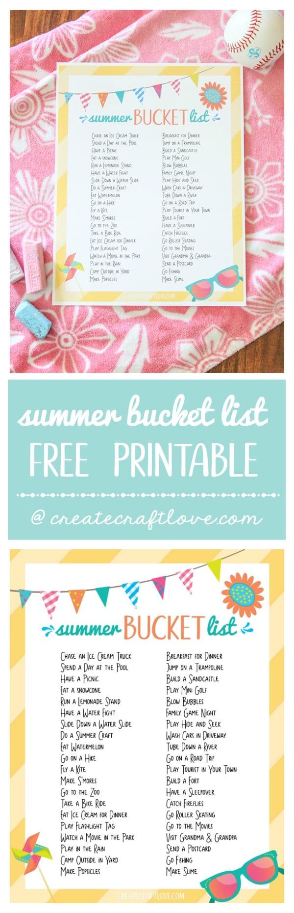 Summer Bucket List Printable  Create Craft Love