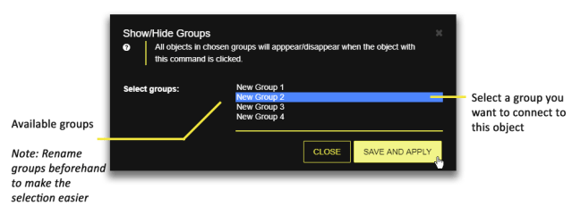 Select a group to attached to as show/hide action
