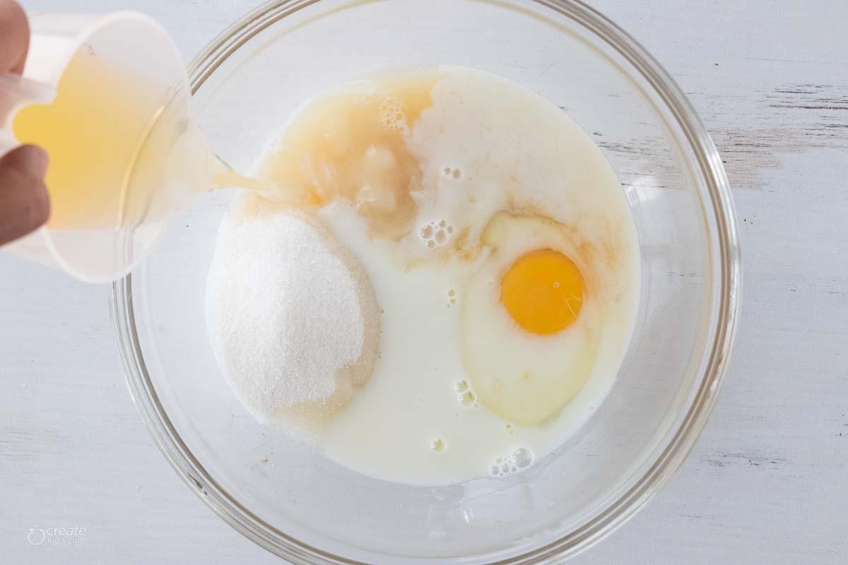 wet ingredients in mixing bowl