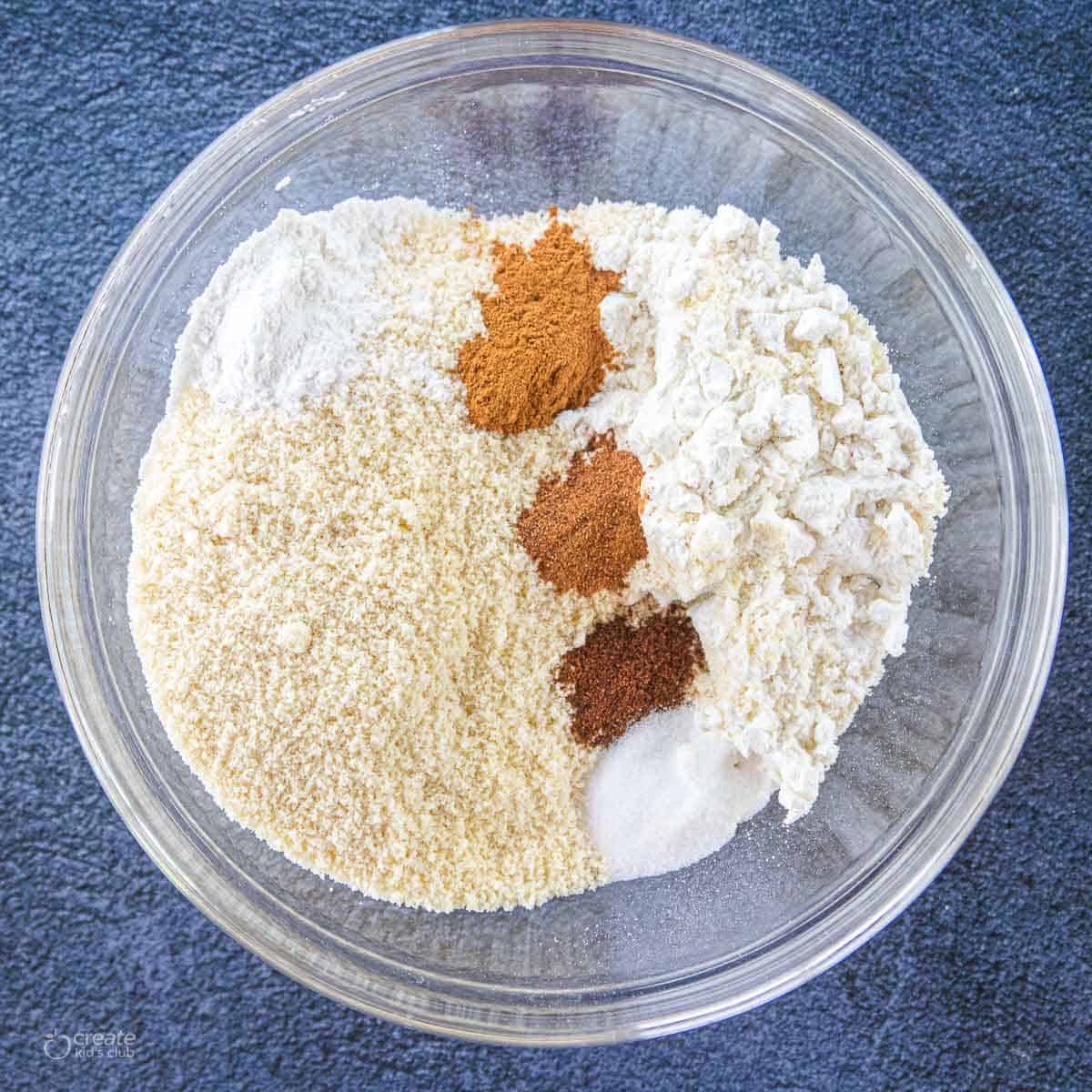 dry ingredients in a mixing bowl for Bundt cake