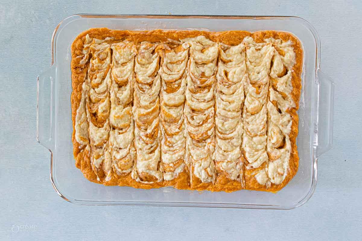 pumpkin bars in baking dish