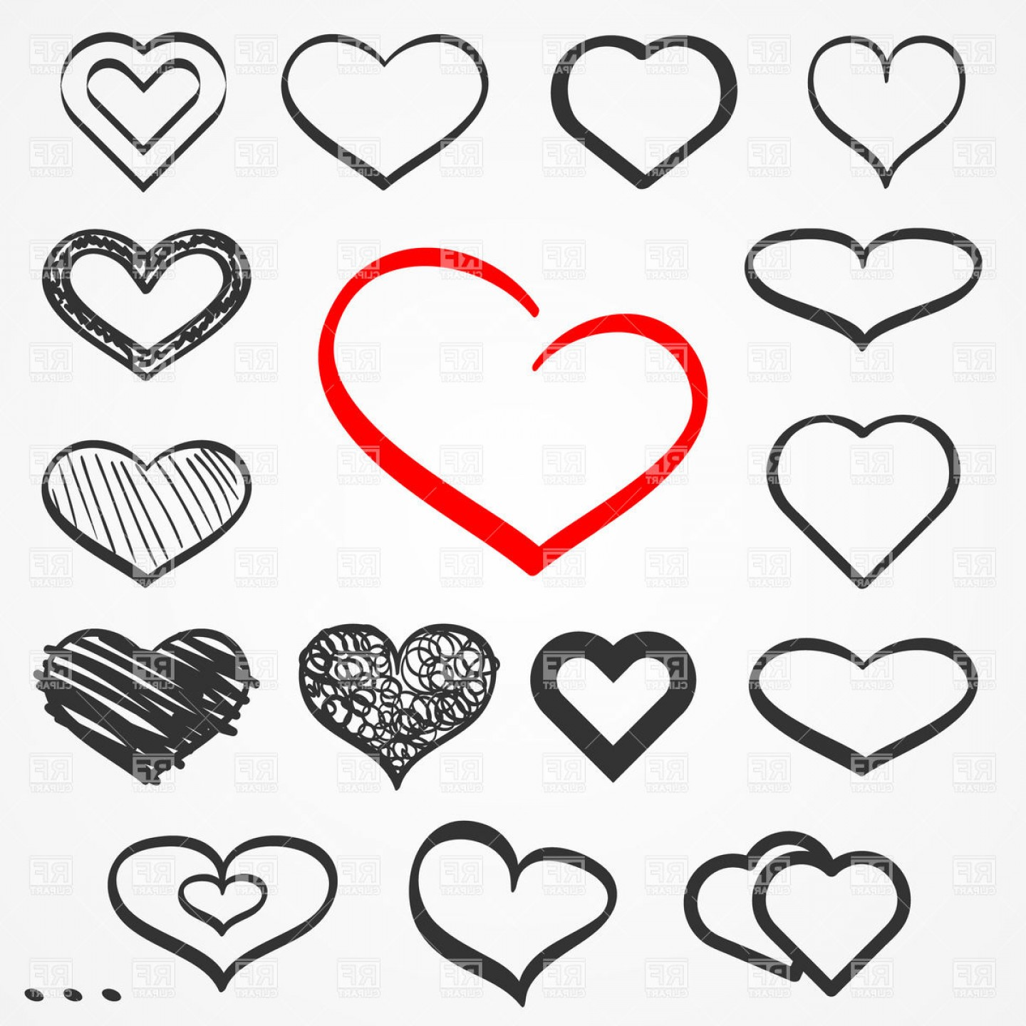 Abstract Sketch Hand Drawn Hearts Vector Clipart