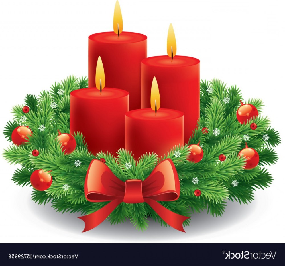 medium resolution of christmas advent wreath with burning candles vector