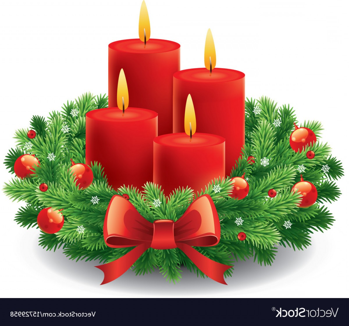 hight resolution of christmas advent wreath with burning candles vector