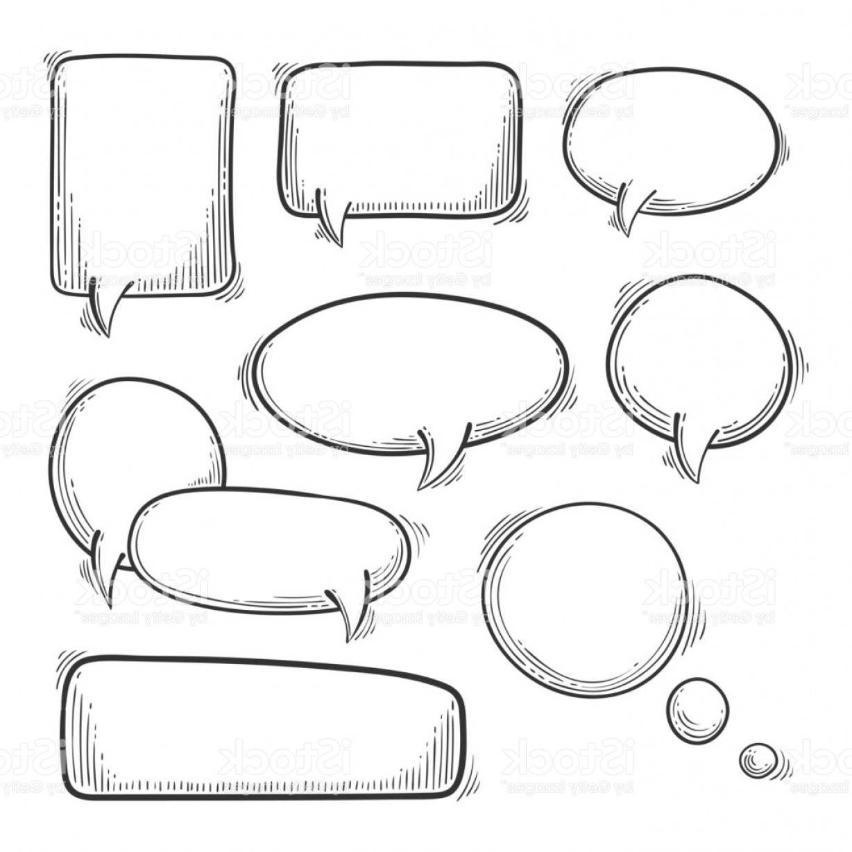 Doodle Speech Bubbles Vector Set Cartoon Style Message