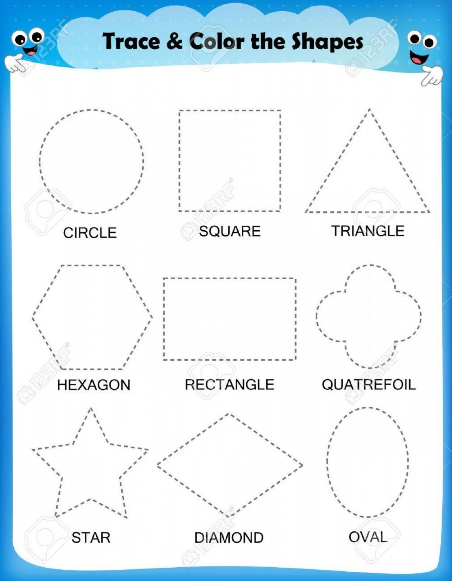Photostock Vector Preschool Worksheet Trace The Shapes And
