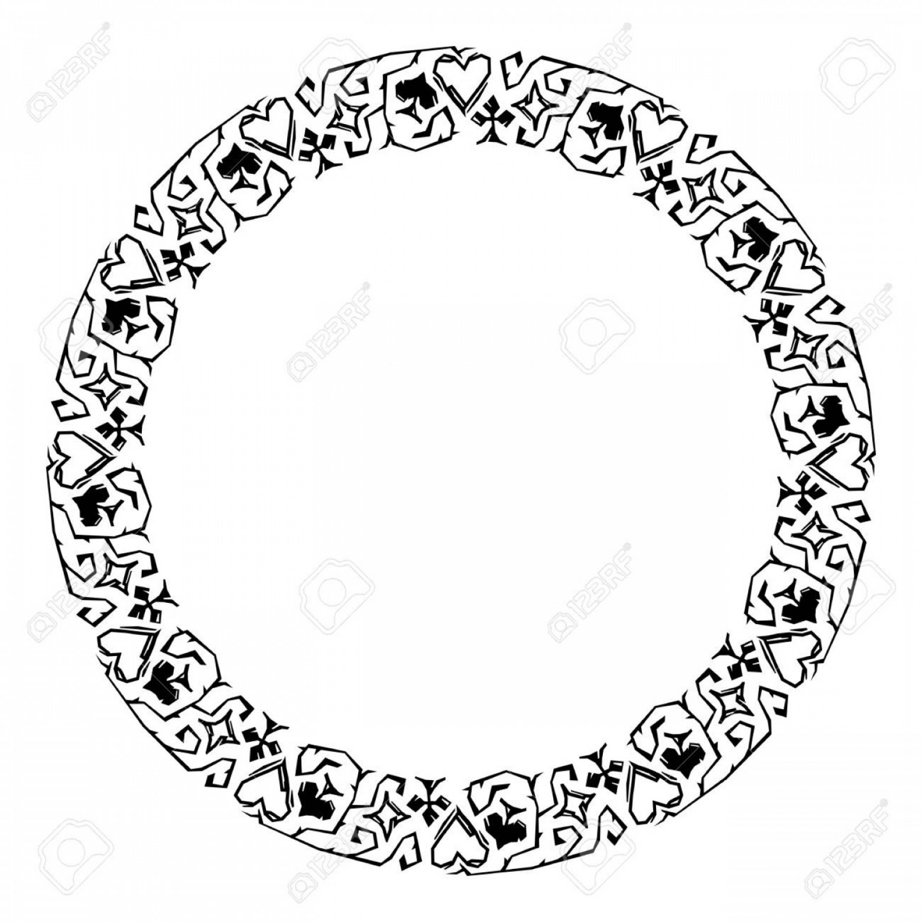 Photostock Vector Round Decorative Frame With Card Suits