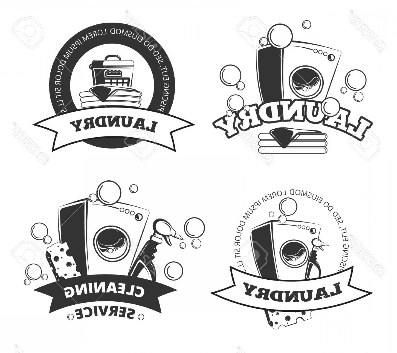Photostock Vector Vintage Laundry Service Dry Clean Vector