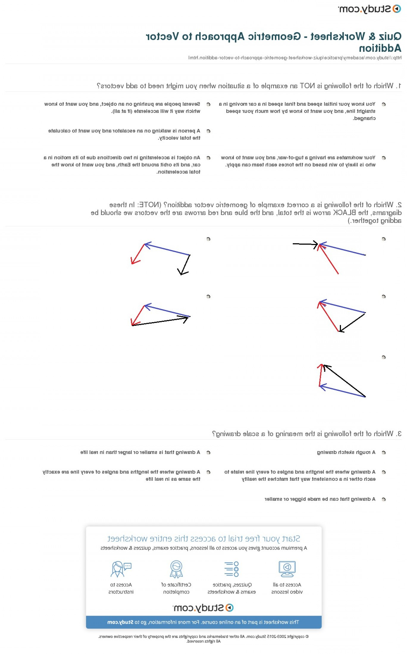 Quiz Worksheet Geometric Approach To Vector Addition