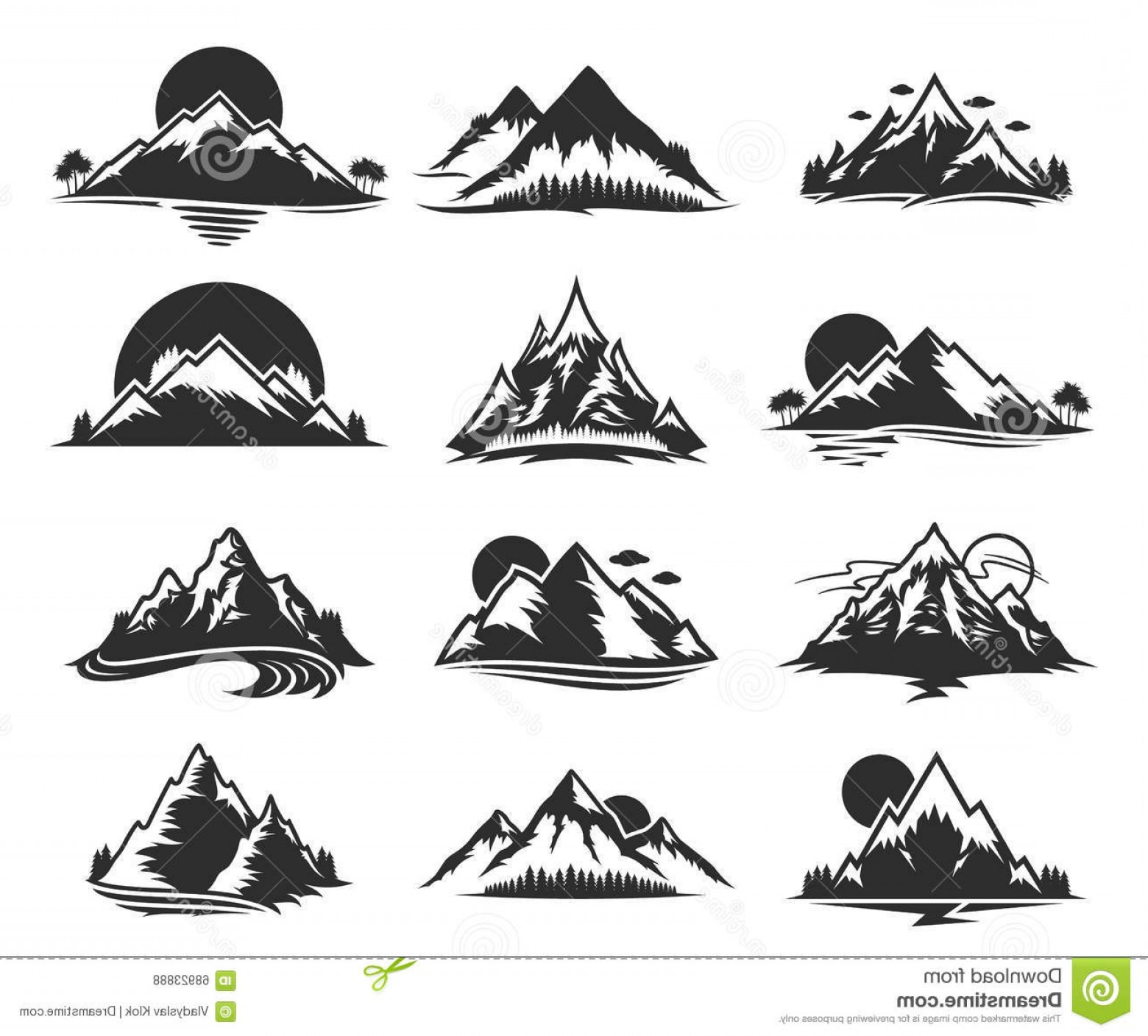 Stock Illustration Vector Mountains Icons Isolated White