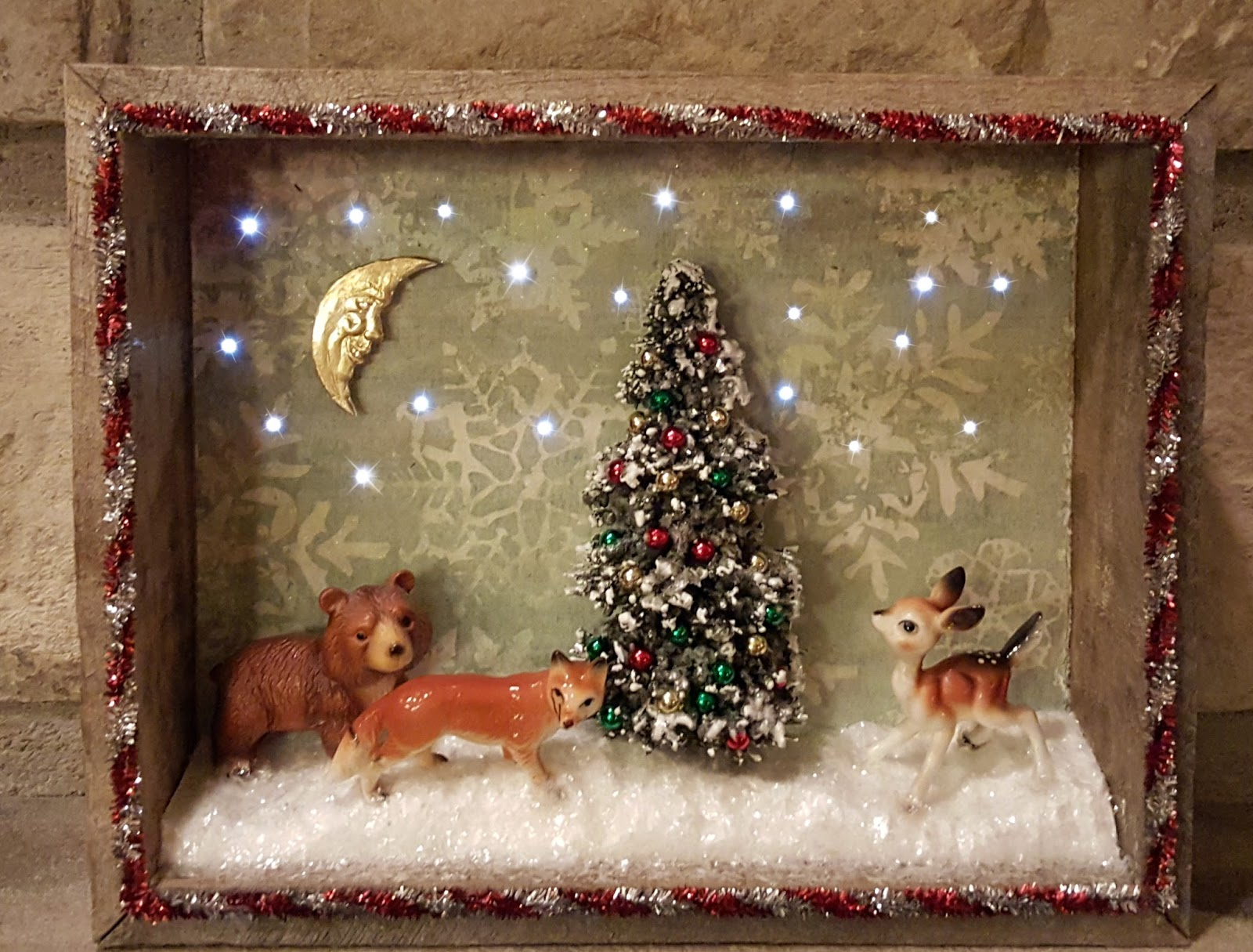 Vintage Christmas Shadowbox With Lights CreateNCraft
