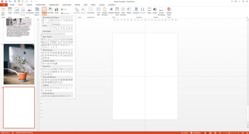 Add a shape to your Powerpoint ebook