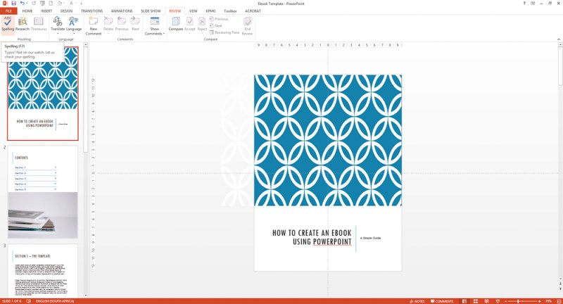 Spellcheck and do final edits on your Powerpoint ebook