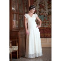 Long white lace wedding dress with back lace-up and short ...