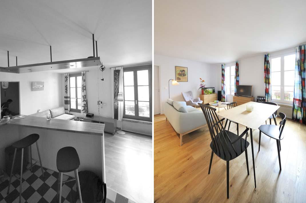 Avant  Aprs  Rorganisation dun appartement 2 pices de 45m2