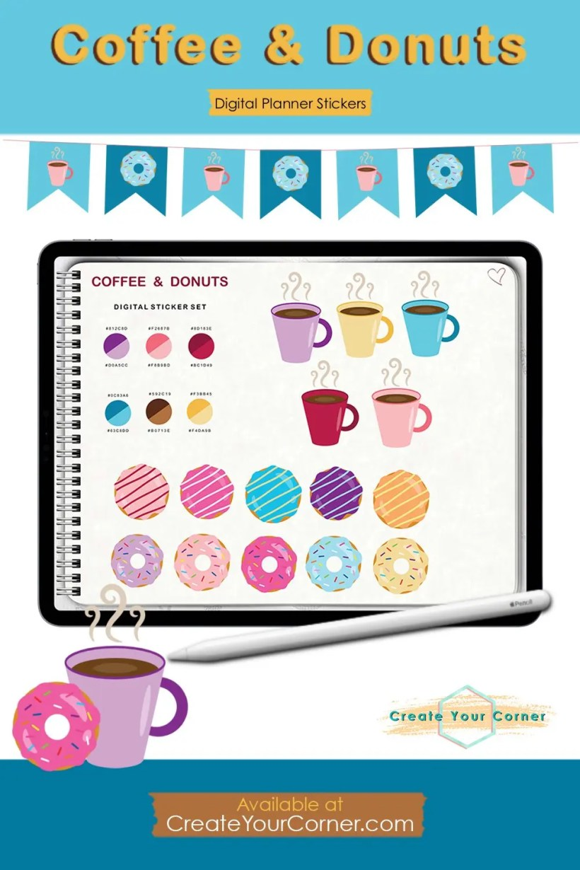 Coffee and Donuts | Digital Planner Stickers