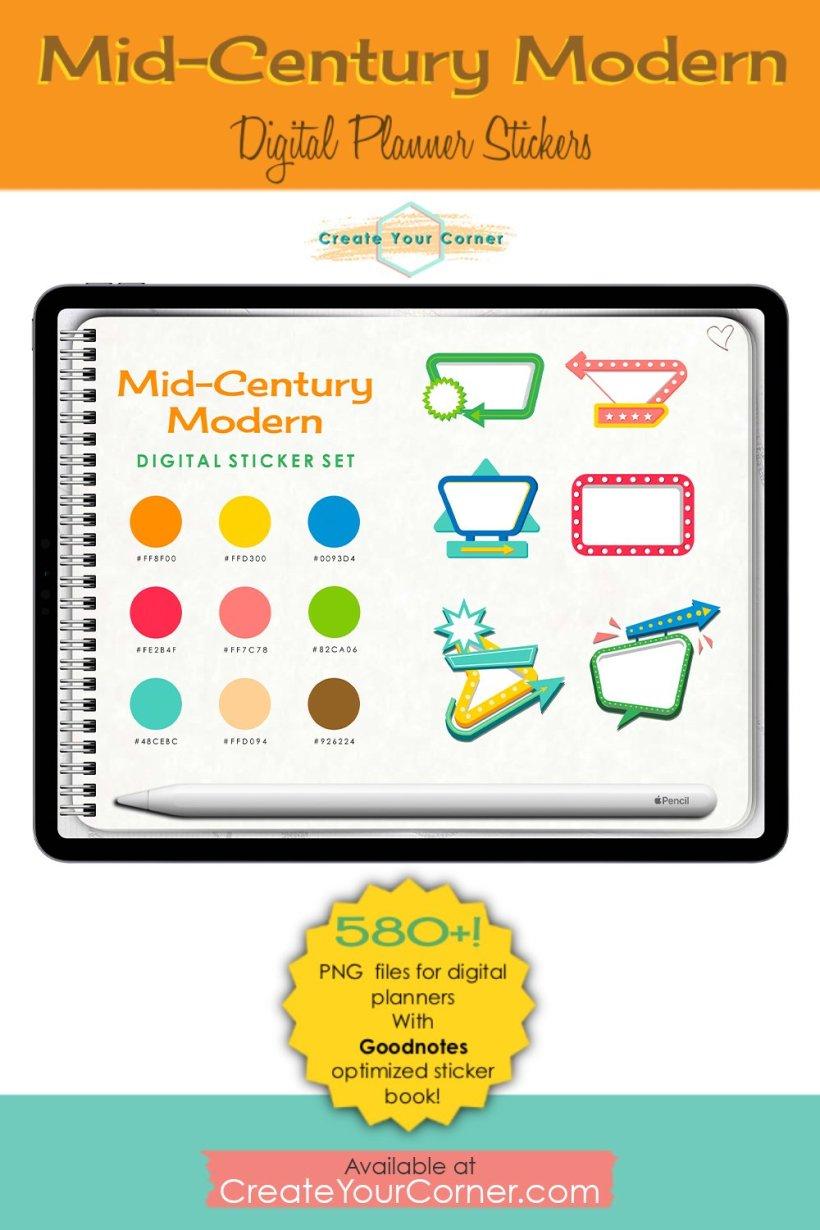 Mid-Century Modern | Digital Planner Stickers