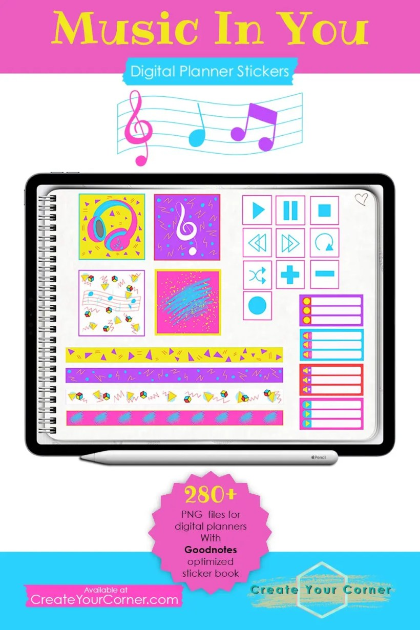Music In You | Digital Planner Stickers