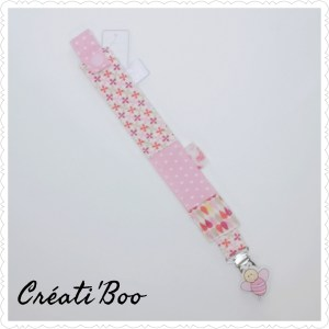 Attache tétine abeille rose