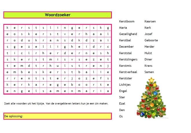 Woordzoeker Kerst - Creatief en Simpel - Download gratis op onze site