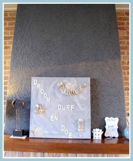 Schilderij Droom Durf Doe met schelpen - Creatief en Simpel - Ga naar onze site voor de werkbeschrijving