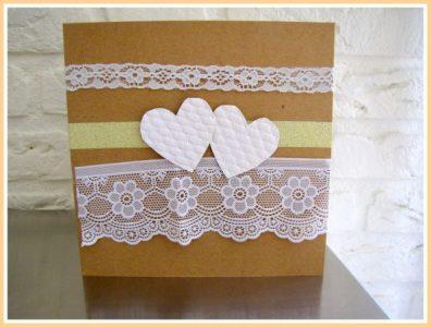 Kaart felicitatie huwelijk, bijpassend bij de uitnodiging die we kregen- Creatief en Simpel - Ga naar onze site voor de werkbeschrijving.