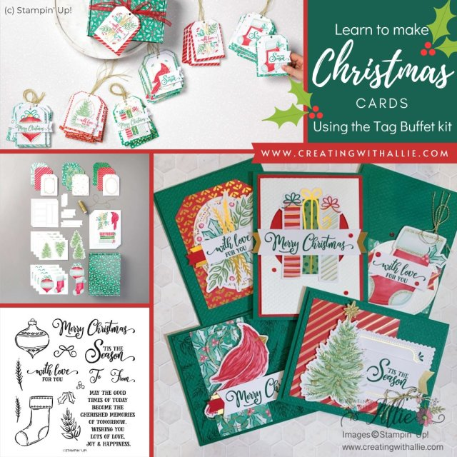 Learn how to make Easy Christmas Cards using the Tag Buffet Kit